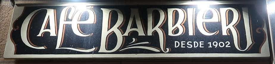L'enseigne du café Barbieri